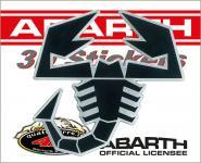 21541 ADESIVO ABARTH 3D STICKERS SCORPIONE NERO BORDO ARGENTO 65MM