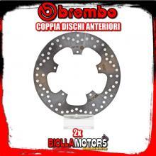 2-68B407B6 COPPIA DISCHI FRENO ANTERIORE BREMBO GILERA NEXUS 2004-2013 500CC FISSO