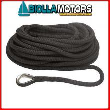 3101445 MOORING LINE BLACK 16MM X 10M< Treccia Mooring Nero con Redancia