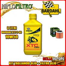 KIT TAGLIANDO 3LT OLIO BARDAHL XTC 10W50 APRILIA 350 ETX 350CC 1985-1989 + FILTRO OLIO HF151