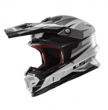 404564808/S ESA CASCO LS2 MX456 LIGHT FACTORY WHITE-BLACK-TITANIUM TAGLIA S