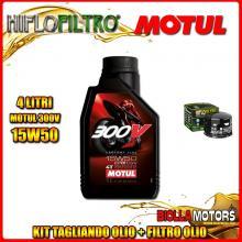KIT TAGLIANDO 4LT OLIO MOTUL 300V 15W50 APRILIA 1200 Dorsoduro 1200CC 2011-2015 + FILTRO OLIO HF565