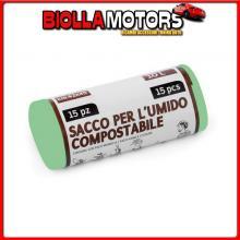 SA023 LAMPA ROTOLO 15 SACCHI BIANCHI CON MANIGLIA PER UMIDO COMPOSTABILE - 42X45 CM