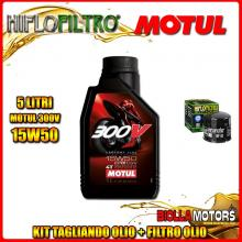 KIT TAGLIANDO 5LT OLIO MOTUL 300V 15W50 DUCATI 1200 Monster R 1200CC 2016- + FILTRO OLIO HF153