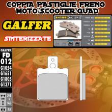 FD012G1371 PASTIGLIE FRENO GALFER SINTERIZZATE ANTERIORI S.W.M. 125 S1, S2 86-