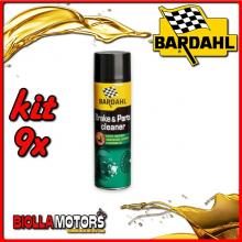 KIT 9X 500ML BARDAHL BRAKE CLEANER PULITORE FRENI 500 ML - 9x 606031
