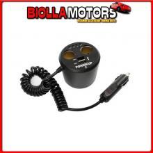 39011 LAMPA POWER CUP 2, MULTIPRESA CON USB E TESTER BATTERIA, 12V