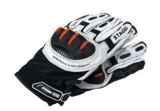 S6-0860/XXL Guanti Stage6 in pelle con protezioni bianco/nero/arancio mis. XXL