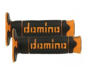 A26041C4540A7-0 MANOPOLE DOMINO NERO/ARANCIO UNIVERSALI PER MOTO CROSS OFF ROAD