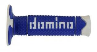 A26041C4648A7-0 MANOPOLE DOMINO BLU/BIANCO UNIVERSALI PER MOTO CROSS OFF ROAD