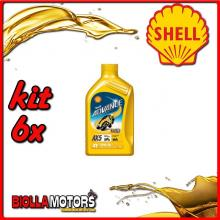 KIT 6X LITRO OLIO SHELL ADVANCE 4T AX5 15W50 1LT - 6x 550027092