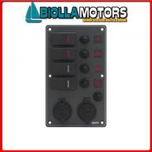 2102751 PANNELLO C7/IP66 4P ALU BL BAT+12V AV< Pannelli C7-IP66 Socket Black