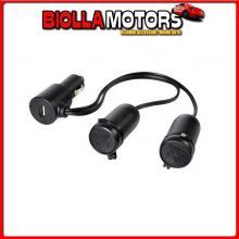 38966 LAMPA PRESA CORRENTE DOPPIA CON USB - 12/24V