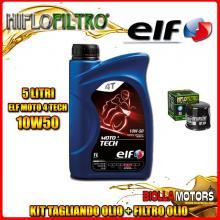 KIT TAGLIANDO 5LT OLIO ELF MOTO TECH 10W50 TRIUMPH 955 Tiger 955CC 2005-2006 + FILTRO OLIO HF204