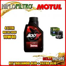 KIT TAGLIANDO 4LT OLIO MOTUL 300V 10W40 DUCATI 1000 DS 1000CC 2004-2006 + FILTRO OLIO HF153