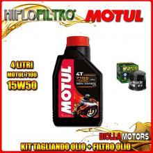 KIT TAGLIANDO 4LT OLIO MOTUL 7100 15W50 APRILIA RSV 1000 RSV4 R 1000CC 2009-2011 + FILTRO OLIO HF138