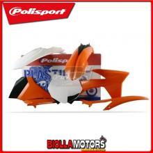 P90408 KIT PLASTICHE CARENE KTM 125 SX 2012-2012 ARANCIONE/BIANCO POLISPORT