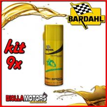 KIT 9X 400ML BARDAHL HIGH SPEED CHAIN LUBRIFICANTE PER CATENA AD ALTISSIMA ADESIVITA 400ML - 9x 600029