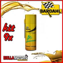 KIT 9X 400ML BARDAHL FOAMY CHAIN LUBE LUBRIFICANTE PER CATENA AD ALTISSIME PRESTAZIONI 400ML - 9x 601029