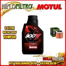 KIT TAGLIANDO 3LT OLIO MOTUL 300V 15W50 APRILIA 350 ETX 350CC 1985-1989 + FILTRO OLIO HF151