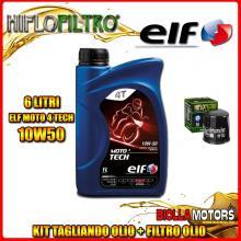 KIT TAGLIANDO 6LT OLIO ELF MOTO TECH 10W50 KAWASAKI VN2000 E6F,E7F Vulcan Classic 2000CC 2006-2007 + FILTRO OLIO HF303