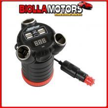 38926 LAMPA MULTI-POWER CUP, 3 PRESE ACCENDISIGARI + 4 USB E VOLTMETRO, 12/24/36V