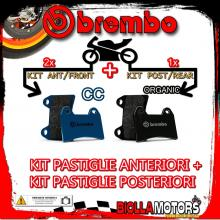 BRPADS-48237 KIT PASTIGLIE FRENO BREMBO PIAGGIO MP3 LT iE ABS 2014- 300CC [CC+ORGANIC] ANT + POST