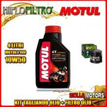 KIT TAGLIANDO 4LT OLIO MOTUL 7100 10W50 APRILIA RSV 1000 RSV4 R 1000CC 2009-2011 + FILTRO OLIO HF138