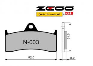 45N00300 PASTIGLIE FRENO ZCOO (N003 EX) BUELL M2 1200 CYCLONE - RS X 1- S1 WHITELIGHNING - S1 LIGHTNING - S3 THUNDERBOLT (ANTERI
