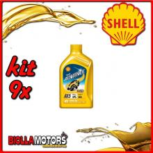 KIT 9X LITRO OLIO SHELL ADVANCE 4T AX5 15W50 1LT - 9x 550027092