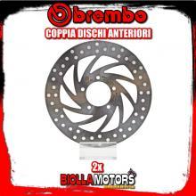 2-68B407B0 COPPIA DISCHI FRENO ANTERIORE BREMBO APRILIA SPORTCITY STREET 2012- 125CC FISSO