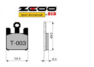 45T00300 PASTIGLIE FRENO ZCOO (T003 EX) KAWASAKI ZX-6R NINJA - ZX-6RR - 636 2003-2004 (ANTERIORE)
