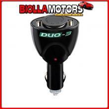 39047 LAMPA DUO-3, PRESA CORRENTE CON USB, 12/24V