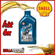 KIT 6X LITRO OLIO SHELL ADVANCE 4T AX7 15W50 1LT - 6x 550027108