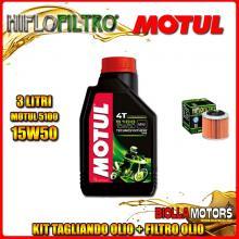KIT TAGLIANDO 3LT OLIO MOTUL 5100 15W50 APRILIA 350 ETX 350CC 1985-1989 + FILTRO OLIO HF151