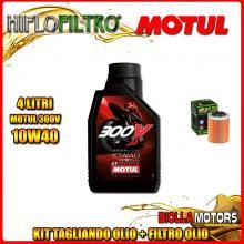 KIT TAGLIANDO 4LT OLIO MOTUL 300V 10W40 APRILIA RSV 1000 Mille 1000CC 1999-2004 + FILTRO OLIO HF152