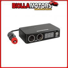 38925 LAMPA MULTI-POWER, 2 PRESE ACCENDISIGARI + 2 USB E VOLTMETRO, 12/24/36V