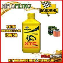 KIT TAGLIANDO 3LT OLIO BARDAHL XTC 15W50 APRILIA 350 ETX 350CC 1985-1989 + FILTRO OLIO HF151
