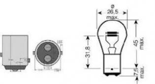 E0300707 LAMP.BILUX 12V 21/5W BAY15D